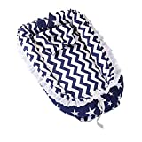 Abreeze Ruffled Baby Bassinet for Bed -Dark Blue Stars Baby Lounger - Breathable & Hypoallergenic Co-Sleeping Baby Bed - 100% Cotton Portable Crib for Bedroom/Travel;Suitable for 0-24 Month