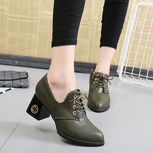 con de con Zapatos negro Zapatos Altos Solo EUR36 Pequeños un Gruesos 5 un Zapatos Tacones Sexy Zapatos Cuero con Los par de POwxEU