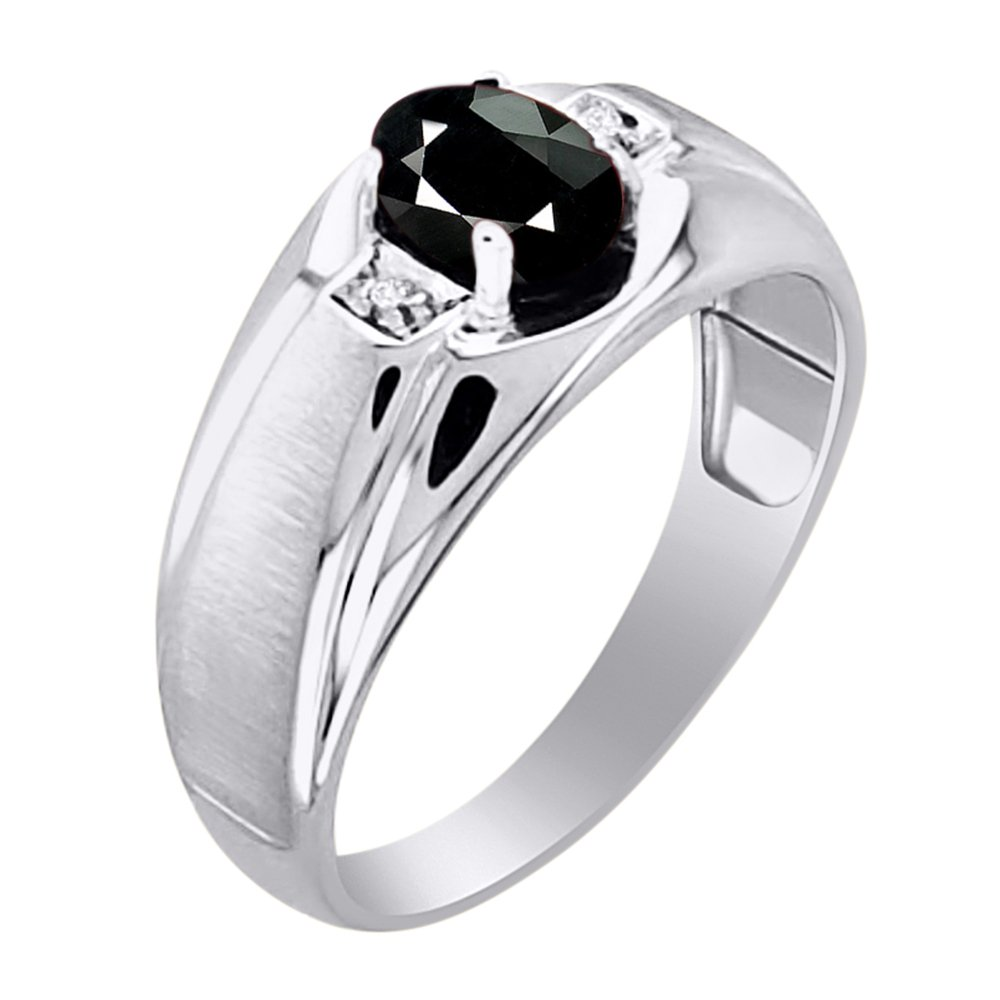 Onyx /& Diamond Ring Sterling Silver or Yellow Gold Plated Silver