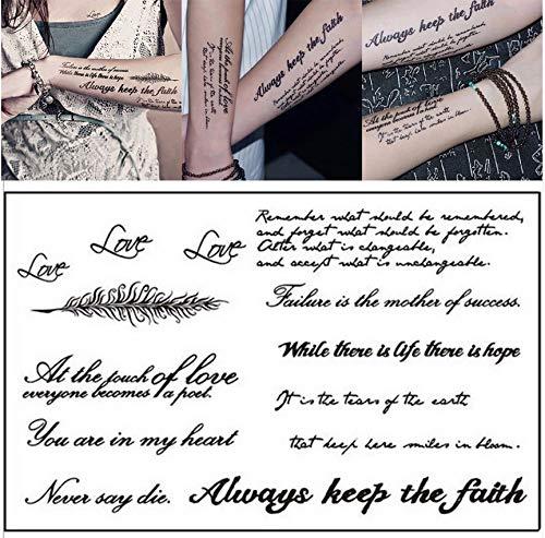 Temporal palabra inglesa pegatinas de tatuaje letras negras cuerpo ...
