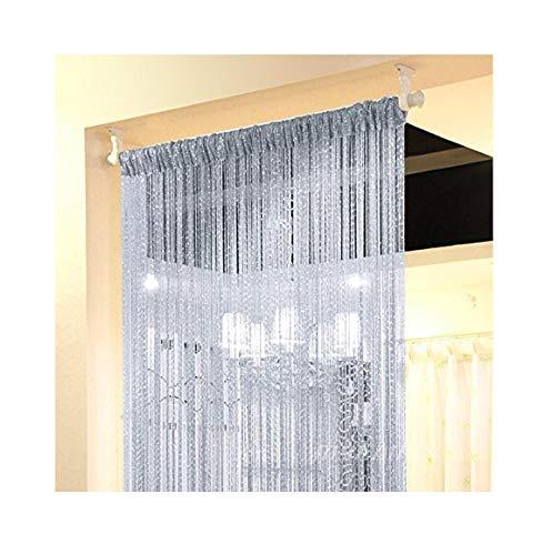 Eyotool 1x2 M Door String Curtain Rare Flat Silver Ribbon Thread Fringe Window Panel Room Divider Cute Strip Tassel for Wedding Coffee House Restaurant Parts, -