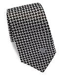 Versace Men's Geometric Print Italian Silk Tie, OS, Black & Silver