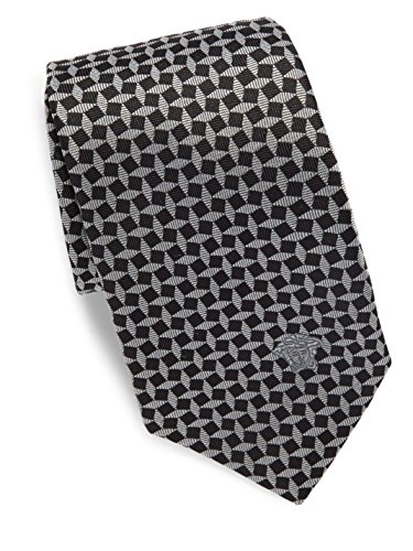 Versace Men's Geometric Print Italian Silk Tie, OS, Black & Silver by Versace