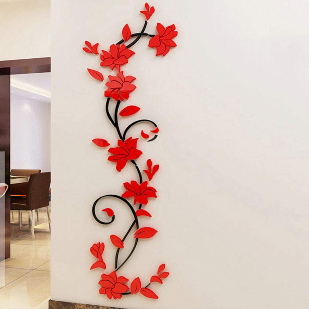 heDIANz Autocollant Mural Amovible 3D Rose Fleur Enfants Salons Decal Mural Home Decor Rouge XS Gauche
