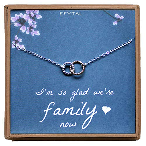 EFYTAL Mother of The Bride Gifts, Sterling Silver Two Tone Interlocking Circle Necklace for Mother in Law ()
