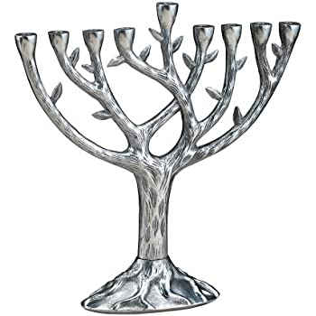Silver Colored Hanukkah Menorah with Circles and Hanging Star of David Chai and Hamsa Charms Design and Pewter Finish Alef Judaica M10115