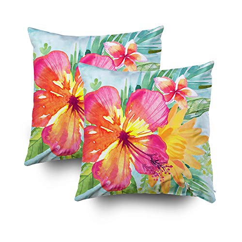 Capsceoll 2PCS Tropical Colorful Flowers Decorative Throw Pillow Case 18X18Inch,Home Decoration Pillowcase Zippered Pillow Covers Cushion Cover with Words for Book Lover Worm Sofa Couch
