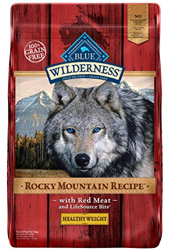 Blue Buffalo Wilderness Rocky Mountain Recipe High Protein Grain Free, Natural Adult Healthy Weight Dry Dog Food, Red Meat 22-lb