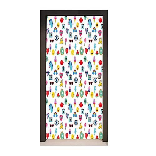 Emoji Decor Door Mural Pop Art Style Cartoon Icons Unicorn Watermelon Banana Pixel Heart Thunder Bolt Eye Creative Self-Adhesive Decoration Multicolor,W17.1xH78.7 -