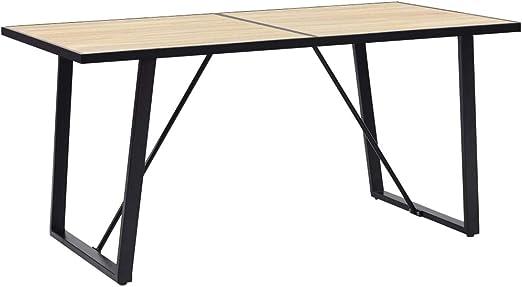 vidaXL Esstisch Schwarz Betongrau 160cm MDF Küchentisch Esszimmertisch Tisch