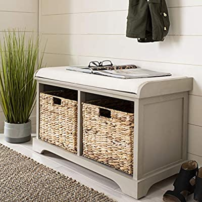 Safavieh American Homes Collection Freddy Brown Wicker Storage Bench - Perfect for a hallway, den, living room, bedroom or anywhere in your home that you want to add a fresh accent For over 100 years, Safavieh has been crafting products of the highest quality and unmatched style Crafted of pine wood and upholstered in linen - entryway-furniture-decor, entryway-laundry-room, benches - 51cd27XNQRL. SS400  -