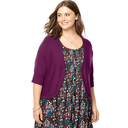 Woman Within Women's Plus Size Rib Trim Cardigan Shrug - Dark Berry, 4X ()