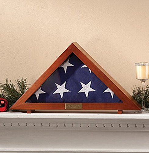 American Flag Case for Veteran Burial Flag Military Funeral | Personalized Engraved Plaque by Generic