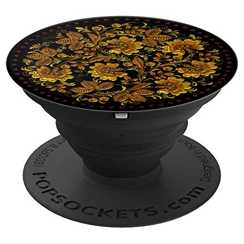 (Flowers and Leaves Russia Khokhloma - PopSockets Grip and Stand for Phones and Tablets)