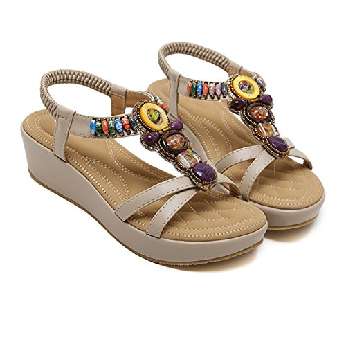 des de Bohemian D'été Abricot Cale Beeded Sandales Women pour Ruiren Dames Chaussures Sqf4xz
