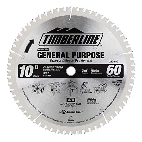 Timberline 250-600 General Purpose and Finishing 10-Inch Diameter by 60-Teeth by 5/8-Inch Bore, ATB Grind Thin Kerf Carbide Tipped Saw Blade