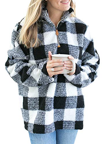 - Womens Oversize Long Sleeve Zipper Plaid Fluffy Fleece Sweatshirt Casual Warm Pullover Tops Outwear Coats Medium Black