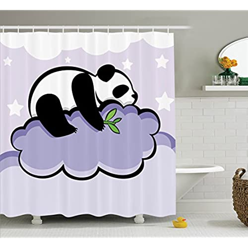 Awesome Animal Decor Shower Curtain Set By Ambesonne, Panda Bear Sleeping On A  Cloud In Starry Night Sky Children Cartoon Illustration Print, Bathroom  Accessories, ...