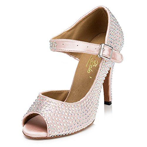 Peep Brautschuhe Strass Sandalen Pumps 8 5cm Zehen Satin Schuhe Tanzschuhe Absatz mit Stiletto Latein Rosa Damen Dayiss Damen qnwzP0x7xI