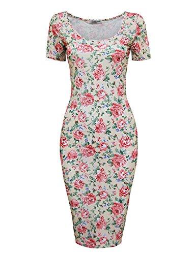 Tom's Ware Women's Sweetheart Short Sleeve Midi Dress TWCWD053-BEIGEPINK-US M