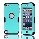 Lantier For iPod Touch 5 Case,Hybrid 3 Layers Hard Cover with Silicone Shell Inside Case Plastic TUFF Camo Triple Quakeproof Drop Resistance Protective for iPod Touch 5 5th Generation with Screen Protector and Stylus Pen K-Mint Green/Black