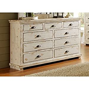Montrose Distressed White 9 Drawer Dresser Fully Assembled Kitchen Dining