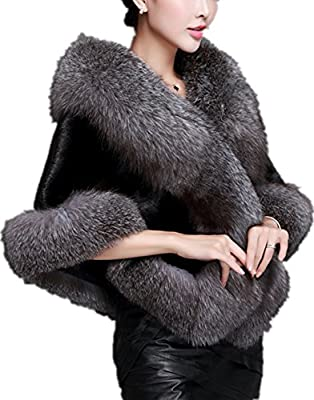 Zofirao Women's Fashion Luxury Soft Long Faux Fox Fur Shawl