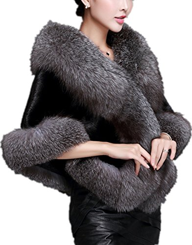 Zofirao Womens Fashion Luxury Soft Long Faux Fox Fur Shawl