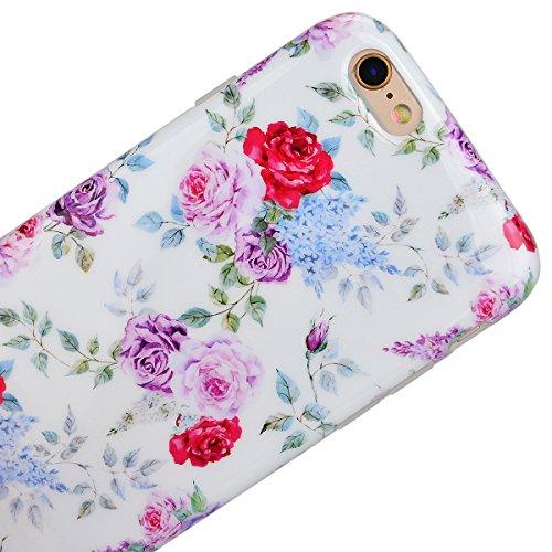 WeLoveCase Cristal Vidrio Templado Protector de Pantalla para Apple iPhone 6 iPhone 6S Diseños Floral 3D Touch Resistente a los Arañazos y Ultra Transparente Película Protectora de Crystal Film A 05
