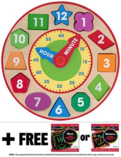 Shape Sorting Clock FREE Melissa /& Doug Scratch Art Mini-Pad Bundle 85939
