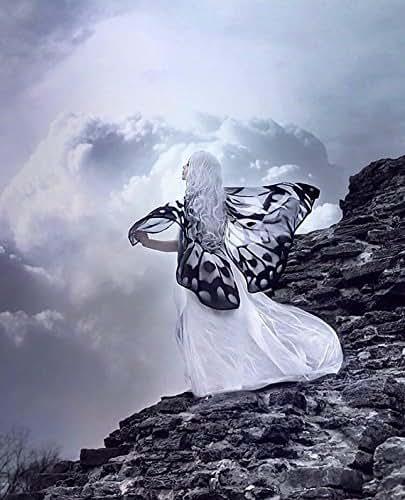 Alas mariposa Nymph blanco y negro