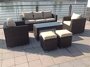 UK Leisure World - Conjunto de muebles de jardín de mimbre, con sofás y mesa, marrón oscuro