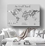 World Map With Push Pins Personalized World Map Push Pin Map On Canvas World Travel Map Personalized Wedding Gift by Artist Amber McDowell