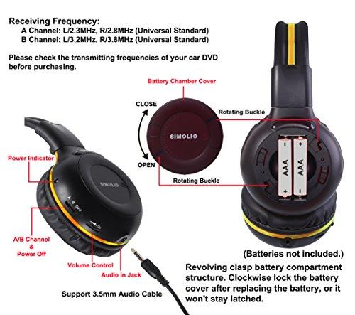 4 Pack of DVD Wireless Headphones, Car Kids Headphones, IR Headphones for Car Entertainment System, Wireless IR Headphones with Dual Channel by SIMOLIO (Image #1)