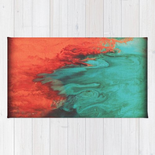 Coral and Teal - Fluid Art Print - Area Rug