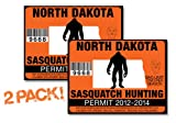 North Dakota-SASQUATCH HUNTING PERMIT LICENSE TAG DECAL TRUCK POLARIS RZR JEEP WRANGLER STICKER 2-PACK!-ND