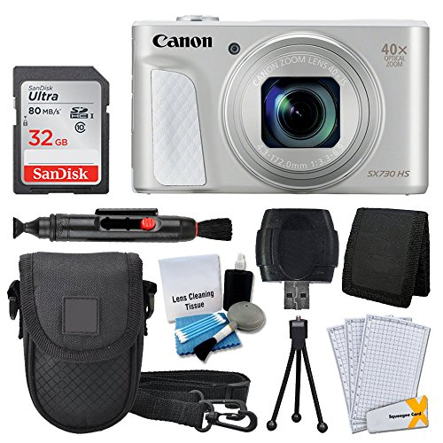Canon PowerShot SX730 HS Digital Camera (Silver) + 32GB Memory Card + Deluxe Point & Shoot Case + USB Card Reader + Memory Card Wallet + Table Top Tripod + 5 Piece Cleaning Kit + Full Accessory Bundle