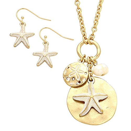Rosemarie Collections Women's Starfish Sand Dollar Faux Pearl Pendant Necklace Earrings Set Gold Tone (White)