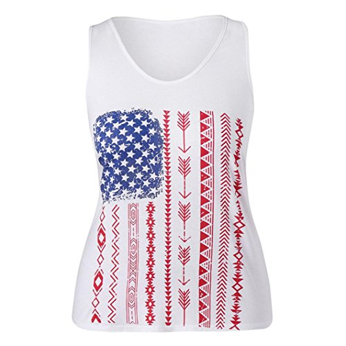Nikuya Women Plus Size Flag Print Sleeveless Vest Tank Blouse Pullover Tops Shirt (XL, Red) - Belted Charmeuse Top