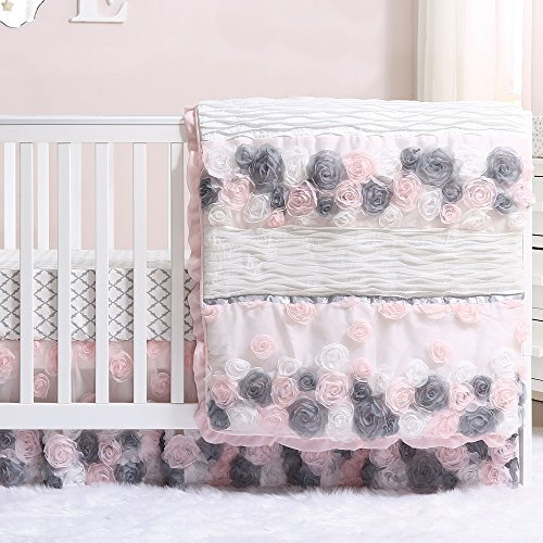 Colette Pink and Grey Floral 6 Piece Crib Bedding Set by The Peanut Shell