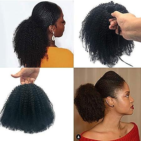 SAGA QUEEN afro kinky rizado 4B/4C colas de caballo extensiones de cabello humano para mujeres negras clip de color negro natural rubio en piezas para el cabello (18 pulgadas, cola de caballo afro)