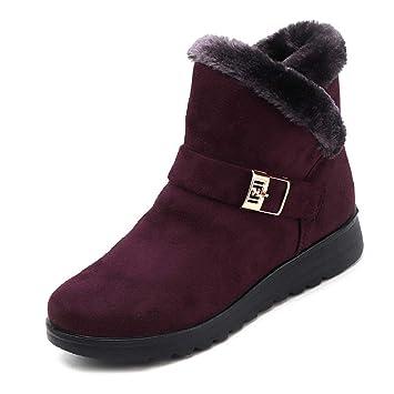 QUICKLYLY Botas De Nieve Mujer,Botines para Adulto,Zapatillas/Zapatos De Invierno Calzado De Tobillo Moda Más Planas Terciopelo con Top Alto: Amazon.es: ...