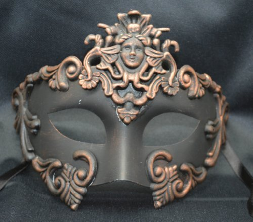 NEW Mens Mythological Bronze/black Madusa Greek Style Party Mask Mens Mythological Greek Style Party Mask Mardi Gras Party Halloween Ball Prom by -