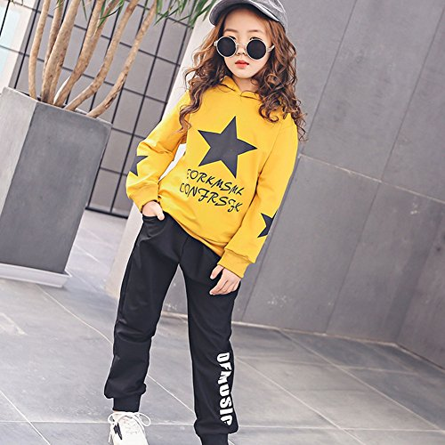 M&A Girls Autumn Casual Hoodie + Pant Set 2 Piece Tracksuit for 5-13T by M&A (Image #3)