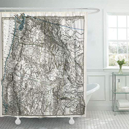 Emvency Waterproof Fabric Shower Curtain Hooks Idaho 1872 Antique Stieler Map of United States Northeast Oregon Washington Montana Extra Long 72
