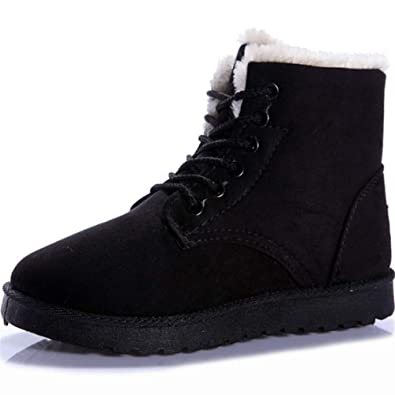 Amazon.com: Women Winter Lace-up Martin Boot Snow Boot Cotton Boot Flat Low Heel Shoes Chaussures Femme Botas mu: Shoes