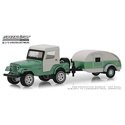 Greenlight 32160-B Hitch & Tow Series 16-1972 Jeep CJ-5 Half-Cab and Teardrop Trailer 1:64 Scale: Toys & Games