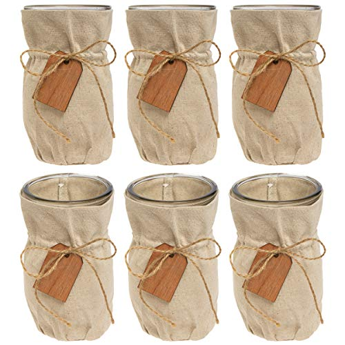 """(Syndicate Sales (6 Pack 7"""" Glass Vase Set with Linen Jacket Vintage Home Decor Centerpiece for Flowers)"""