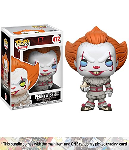 (Pennywise [w/ Boat]: Funko POP! Movies x It Vinyl Figure + 1 Classic Horror & Sci-fi Movies Trading Card Bundle (20176))