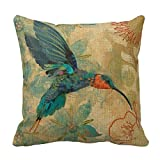 Decorative Pillow Cover - SIXSTARS Cotton Linen Square Fashion Blue Orange Hummingbird Bird Teal Aqua Red Flowers Pillowcases